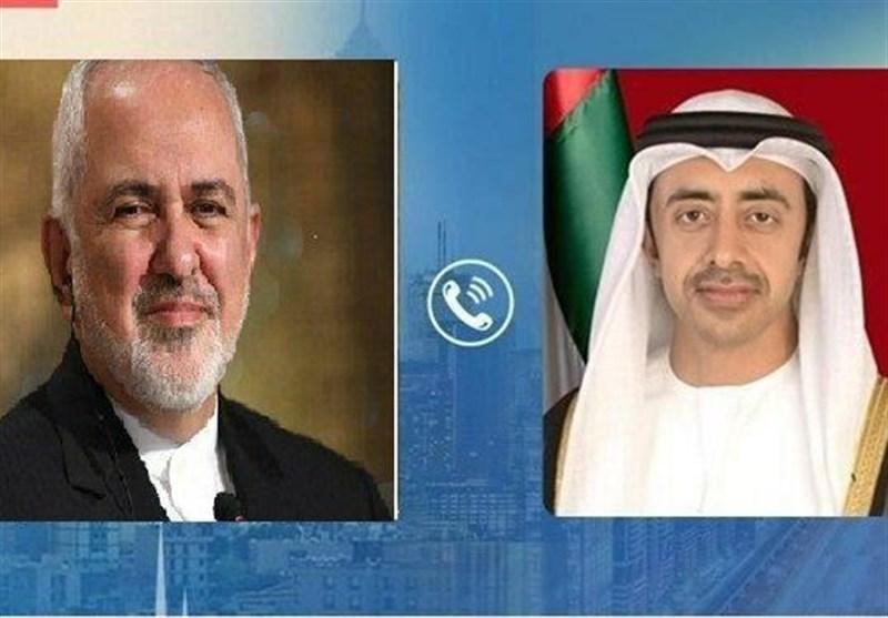 گفتگوی ظریف با وزیر خارجه امارات درباره تحولات منطقه ای