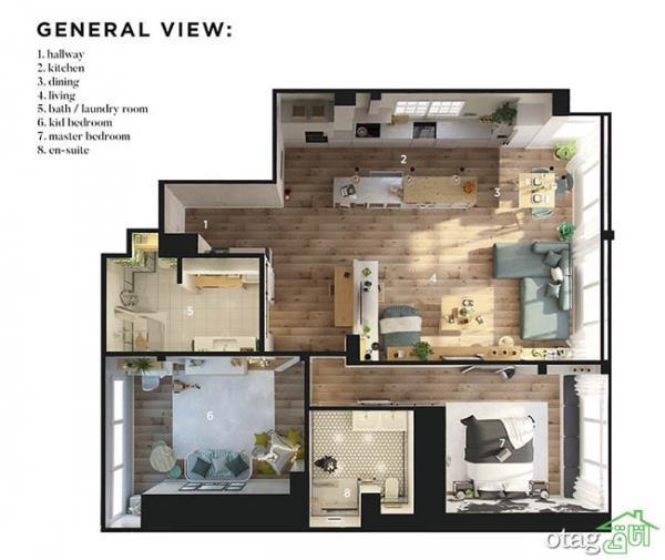 آنالیز دکوراسیون داخلی و نقشه خانه 100 متری دو خوابه