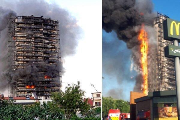 آتش سوزی عظیم در یک برج 20 طبقه در میلان ایتالیا